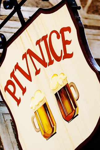 image 4-960-7233 Czech Republic, Cesky Krumlov, Beer sign