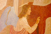 winged angel stock photography | Czech Republic, Cesky Krumlov, Painting of Annunciation, image id 4-960-7266