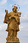 svaty jan nepomucky stock photography | Czech Republic, Pisek, Statue on Bridge, image id 4-960-7351