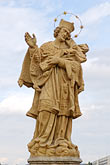 stone bridge stock photography | Czech Republic, Pisek, Statue of Saint, image id 4-960-7355