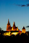 downtown skyline at night stock photography | Czech Republic, Prague, Hradcany Castle at night, image id 4-960-7481