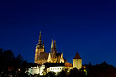 downtown skyline at night stock photography | Czech Republic, Prague, Hradcany Castle at night, image id 4-960-7498