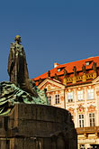 statue of saint stock photography | Czech Republic, Prague, Old Town Square, Statue of Jan Hus, image id 4-960-75