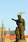 karlsbrucke stock photography | Czech Republic, Prague, Statue of John the Baptist, image id 4-960-782