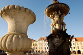 carved stone fountain stock photography | Czech Republic, Ceske Budejovice, Samson Fountain, main square, image id 4-960-830