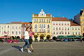 man on the plaza stock photography | Czech Republic, Ceske Budejovice, Main Square, image id 4-960-862