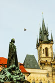 church steeple stock photography | Czech Republic, Prague, Old Town Square, Statue of Jan Hus, image id 4-960-87