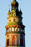 ornate stock photography | Czech Republic, Cesky Krumlov, Castle Round Tower, image id 4-960-876