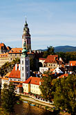 church roof stock photography | Czech Republic, Cesky Krumlov, Cesky Krumlov castle and River Vlatava, image id 4-960-953