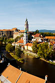 tower stock photography | Czech Republic, Cesky Krumlov, Cesky Krumlov castle and River Vlatava, image id 4-960-954
