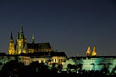 downtown skyline at night stock photography | Czech Republic, Prague, Hradcany Castle at night, image id 4-961-1