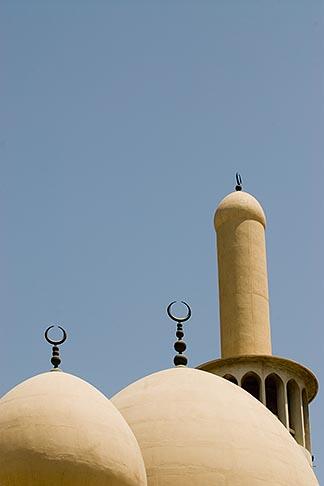 image 8-730-1579 United Arab Emirates, Dubai, Iranian Mosque, Bur Dubai, classical domes and crescent