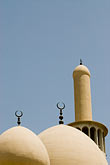 sacred stock photography | United Arab Emirates, Dubai, Iranian Mosque, Bur Dubai, classical domes and crescent, image id 8-730-1579