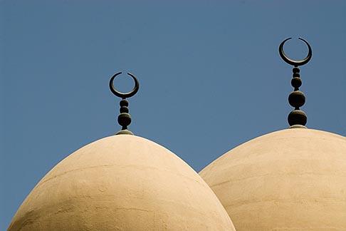 image 8-730-1581 United Arab Emirates, Dubai, Iranian Mosque, Bur Dubai, classical domes and crescent