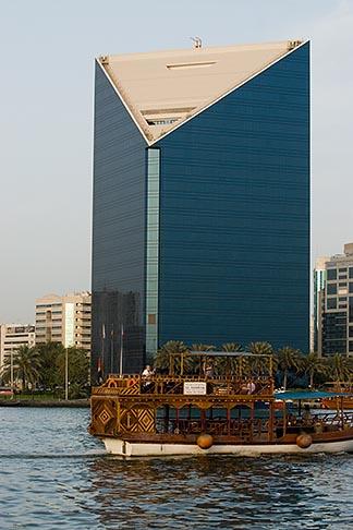 image 8-730-1645 United Arab Emirates, Dubai, Deira skyline and abra ferry on Dubai Creek