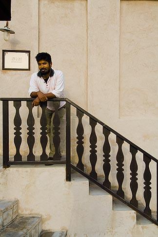 image 8-730-488 United Arab Emirates, Dubai, Young man on stairway