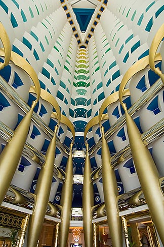 image 8-730-580 United Arab Emirates, Dubai, Burj Al Arab, interior of lobby atrium