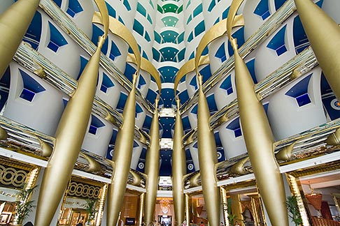 image 8-730-581 United Arab Emirates, Dubai, Burj Al Arab, interior of lobby atrium