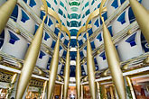 distinctive stock photography | United Arab Emirates, Dubai, Burj Al Arab, interior of lobby atrium, image id 8-730-581