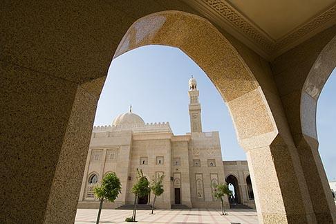 image 8-730-9008 United Arab Emirates, Dubai, Mosque archway and minaret, Jumeirah