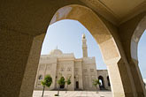 spiritual stock photography | United Arab Emirates, Dubai, Mosque archway and minaret, Jumeirah, image id 8-730-9008