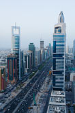 street stock photography | United Arab Emirates, Dubai, Sheikh Zayed Road and Dubai business district, high angle view, image id 8-730-9072