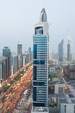 emirates towers stock photography | United Arab Emirates, Dubai, Sheikh Zayed Road and Dubai business district, high angle view, image id 8-730-9097