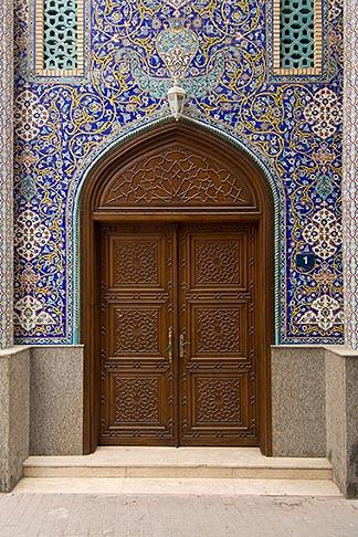 image 8-730-9137 United Arab Emirates, Dubai, Blue tiled doorway, Iranian Mosque, Bur Dubai