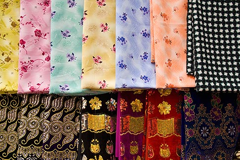 image 8-730-9142 United Arab Emirates, Dubai, Colorful fabrics for sale in the Souq