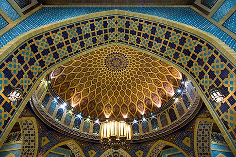 image 8-730-9248 United Arab Emirates, Dubai, Ibn Battuta Shopping Mall, arched ceiling with decorative tiles