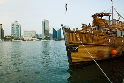 image 8-730-9466 United Arab Emirates, Dubai, Tourist boat moored along Dubai Creek