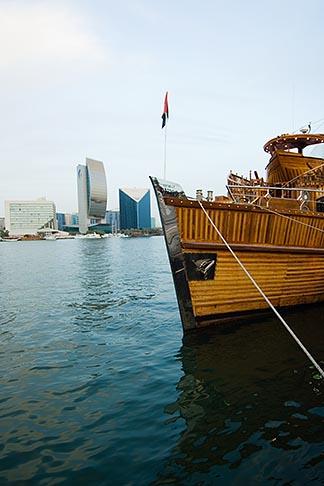 image 8-730-9467 United Arab Emirates, Dubai, Tourist boat moored along Dubai Creek