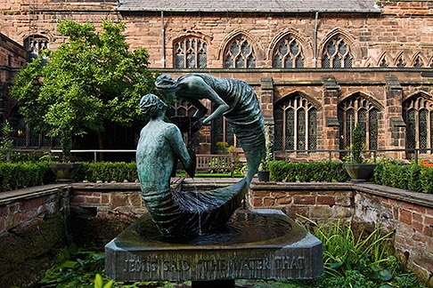 image 7-695-33 England, Chester, Chester Cathedral, Water of Life, bronze sculpture