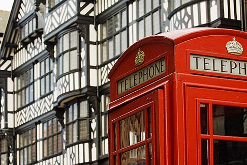 image 7-695-7405 England, Chester, Telephone box and tudor buildings
