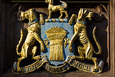 coat stock photography | England, Chester, Decorative coat of arms, Virtus non Stemma, image id 7-695-7493