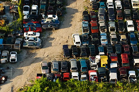 image 7-672-6824 Florida, Miami, Auto junkyard, Aerial view