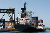 dock stock photography | Florida, Port Everglades, Container ship at dock, image id 7-673-6585