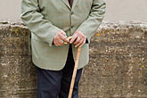 one mature man stock photography | France, Man with cane, hands, image id 6-450-1051