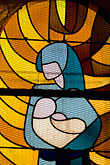 child stock photography | France, Normandy, St. Vaast La Hougue, Chapel, Stained glass of Madonna and Child, image id 6-450-1154