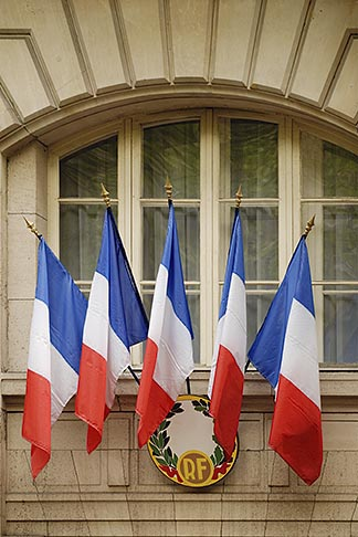 image 6-450-555 France, Paris, French flags
