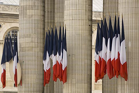 image 6-450-5747 France, Paris, Pantheon, French flags
