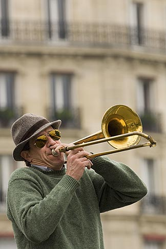 image 6-450-5793 France, Paris, Street band trombone player