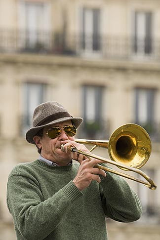 image 6-450-5801 France, Paris, Street band trombone player