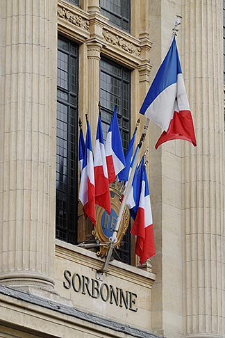 image 6-450-591 France, Paris, Sorbonne, French flags in window