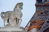 parisian stock photography | France, Paris, Eiffel Tower and statue of horse, image id 6-450-5981