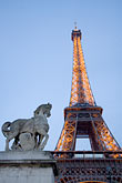 well lit stock photography | France, Paris, Eiffel Tower and statue of horse, image id 6-450-6011