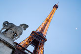 well lit stock photography | France, Paris, Eiffel Tower and statue of horse, image id 6-450-6012