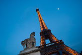 well lit stock photography | France, Paris, Eiffel Tower and statue of horse, image id 6-450-6020