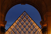incongruous stock photography | France, Paris, Musee du Louvre, Pyramide, night, image id 6-450-616