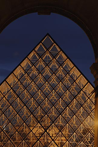 image 6-450-621 France, Paris, Musee du Louvre, Pyramide, night